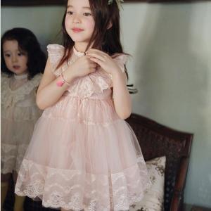 子供ドレス 女の子 レース 花柄チュールワンピース 袖無しフォーマルドレス 子供服 かわいい お姫様 リトルプリンセス ピアノ発表会 誕生日 結婚式|knit