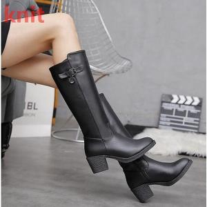 ロングブーツ レディース 黒 大人カジュアル 大きいサイズ ブーツ 太ヒール 歩きやすい 美脚 ブーツ 疲れにくい シンプル 防寒 エレガンス レディースブーツ|knit