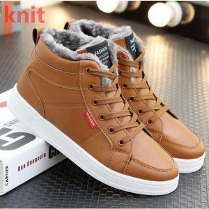 スノーブーツ 裏起毛 ワークブーツ ブーツ メンズ ショートブーツ メンズブーツ 防寒靴 エスニック ボア付き カジュアルブーツ レースアップ 滑り防止 保温|knit