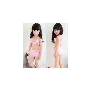 キッズ水着女児用女の子子供用ビキニタンキニBABY赤ちゃん?ベビープール?スイムウエア海水浴温泉3色 knit
