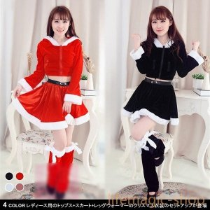 トップス+スカート+レッグウォーマー3点セットクリスマスコスチュームレディースコスプレサンタ女性用長袖フード付きセットアップ|knit