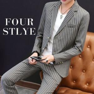 メンズスーツスーツセット春秋2点セットセットアップストライプチェック柄上着ズボンテーラードジャケット通勤フォーマル knit