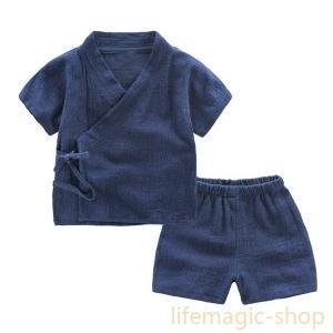 ベビー服キッズ服甚平ネイビーピンクグリーン無地夏セットアップ子ども服|knit