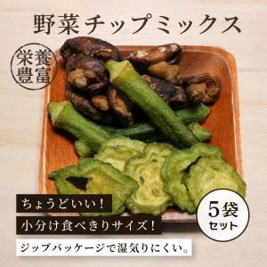 野菜チップミックス 野菜チップ 100g×5袋セット しいたけ おくら ゴーヤ 健康食 おやつ おつまみ ポイント2倍|knopp