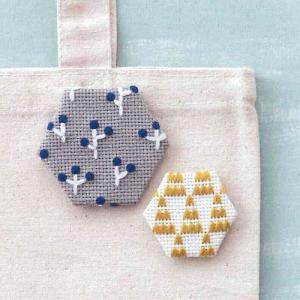 コスモ ルシアン 刺繍キット ヘキサゴンのブローチ Forest(フォレスト) ko-da