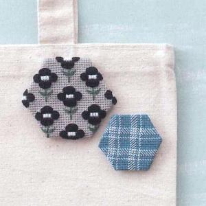 コスモ ルシアン 刺繍キット ヘキサゴンのブローチ Check&Flower(チェック&フラワー) ko-da