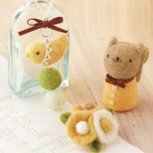 ハマナカ 羊毛フェルト コトリのストラップ&お花のブローチ&リス ko-da