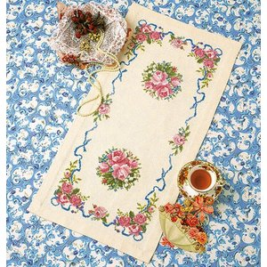 オリムパス 刺繍キット  尾上雅野 テーブルセンター ローズガーデン 【刺繍キット】|ko-da