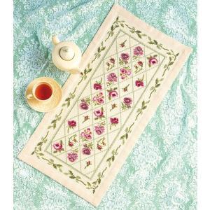 オリムパス 刺繍キット 尾上雅野 テーブルセンター リーフガーランド 【刺繍キット】|ko-da