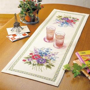 オリムパス 刺繍キット オノエ・メグミ アネモネのテーブルセンター 【刺繍キット】|ko-da