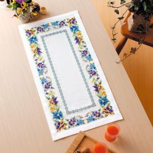 オリムパス 刺繍キット オノエ・メグミ テーブルセンター パンジーリース 【刺繍キット】|ko-da