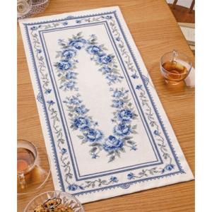 オリムパス 刺繍キット オノエ・メグミ 美しい花たち テーブルセンター ブルーローズ 【刺繍キット】|ko-da