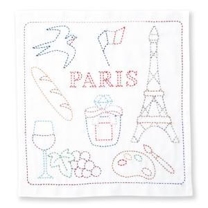 オリムパス 刺し子キット 世界を旅する花ふきん PARIS ko-da