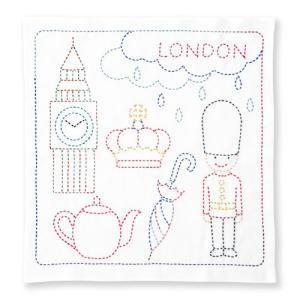 オリムパス 刺し子キット 世界を旅する花ふきん LONDON ko-da