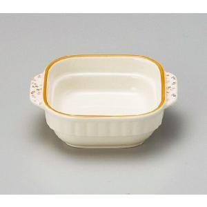 グラタン皿 正角 小 スタッキング 小花オレンジライン 電子レンジOK オーブンOK