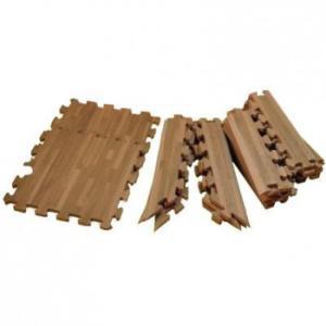 リトルプリンセス 抗菌加工 フロアーマット(ジョイントマット) 195cm×195cm(約2畳分) 木目調ブラウンウッド|ko-te-ya