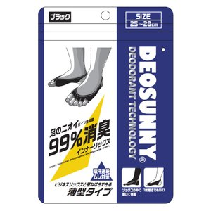 DEOSUNNY デオサニー 高機能消臭 抗菌防臭×吸汗速乾 インナーソックス メンズ ブラック ×4足セット|ko-te-ya