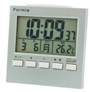 FORMIA デジタル電波目覚まし時計 バックライト付き シルバー HT-004|ko-te-ya