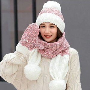 マフラー 帽子 手袋 セット レディース 秋冬 ニット 厚手 混色編み ポンポン ニット帽 ミトン かわいい 暖かい 防寒 小物 大人 あったかグッズ おしゃれ|ko-tyan
