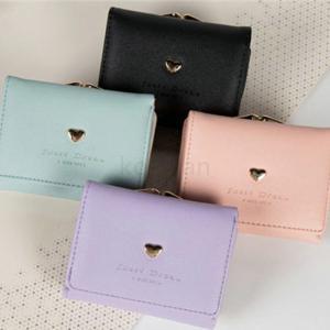財布 折り財布 レディース ハート付き がま口 全4色 ミニウォレット プレゼント パーティー 結婚式 おしゃれ|ko-tyan