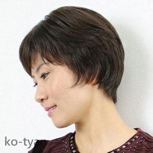 フルウィッグ ウィッグ 自然な人毛100%人毛 自然 医療用 円形脱毛症 ボブ ミディアム ショート レディース|ko-tyan