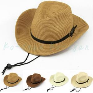 麦わら帽子 メンズ テンガロンハット ウエスタンハット カウボーイハット ストローハット ベルト 紫外線対策 パナマ帽  旅行 登山 釣り ビーチ ko-tyan