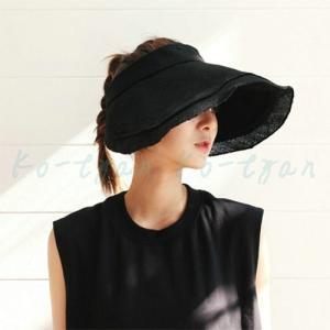サンバイザー 綿麻キャスケット帽子 レディース つば広 折りたたみ エレガント 春 夏 海 UVケア UVカット 母の日 サイズ調整可 UVカット帽子 ko-tyan