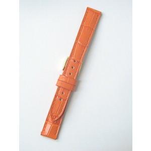 時計バンド 14ミリ 牛革 ワニ柄型押し オレンジ 送料100円より BANBI バンビ 時計ベルト 14mm|kobe-asahiya