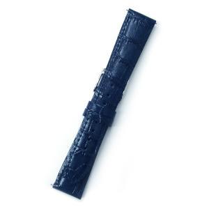 時計バンド 19ミリ 牛革 ワニ柄型押し ネイビー 送料100円より BANBI バンビ 時計ベルト 19mm クイックバネ棒|kobe-asahiya