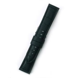 時計バンド 22ミリ 牛革 ワニ柄型押し ブラック 送料100円より BANBI バンビ 時計ベルト 22mm 小判穴|kobe-asahiya