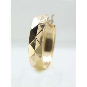 メンズピアス 本物18金 幅広 ダイヤカット クロッシング フープピアス K18 片方|kobe-asahiya