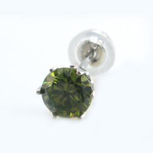 メンズピアス 本物プラチナ モスグリーンキュービック 5mm スタッドピアス PT900 片方 シングル|kobe-asahiya