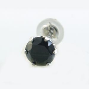 メンズピアス 本物プラチナ ブラックキュービック 5mm スタッドピアス PT900 片方 シングル|kobe-asahiya