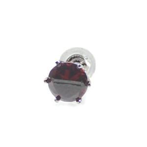 メンズピアス 本物プラチナ ガーネットカラーキュービック 5mm スタッドピアス PT900 片方 シングル|kobe-asahiya