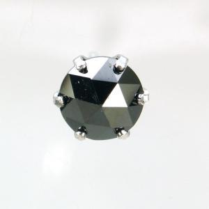 メンズピアス 本物10金WG ブラックキュービック ローズカット 6mm ピアス 片方シングル|kobe-asahiya
