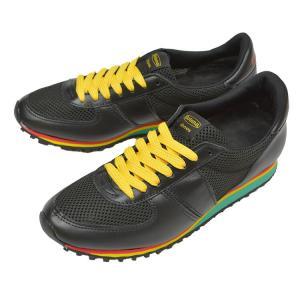 Botana[ボタナ]レザースニーカー CASUAL RUN [BLK/RAINBOW SOLE]クラッシックランニングスニーカー kobe-foot