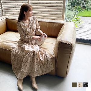 ワンピース レディース 岡部あゆみさんコラボ ティアードワンピース カシュクール 花柄 E2894