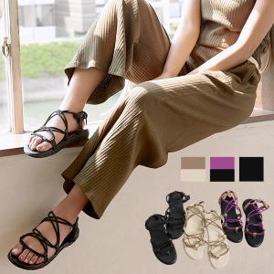 サンダル レディース コードストラップ 歩きやすい スポールサンダル アウトドア フラットシューズ 靴 I1877|kobelettuce