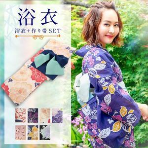 浴衣 レディース 作り帯 セット 選べる 華やか 平織 夏 花火 X362