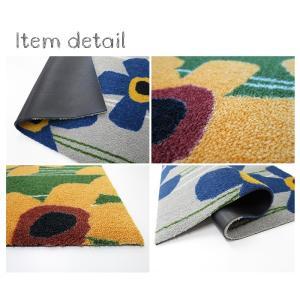 玄関マット 屋外 室内 洗える 滑り止め Primula(さくらそう) モスグリーン 50×75cm kobelongtail 02