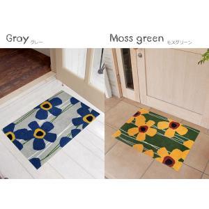 玄関マット 屋外 室内 洗える 滑り止め Primula(さくらそう) モスグリーン 50×75cm kobelongtail 03