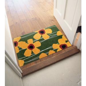 玄関マット 屋外 室内 洗える 滑り止め Primula(さくらそう) モスグリーン 50×75cm kobelongtail 04