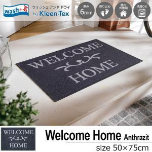 玄関マット 屋外 室内 洗える 滑り止め wash+dry Welcome Home anthrazit 50×75cm|kobelongtail
