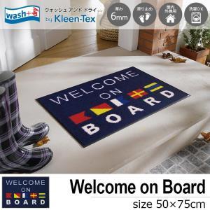 玄関マット 屋外 室内 洗える 滑り止め wash+dry Welcome on Board 50×75cm|kobelongtail