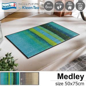 玄関マット 屋外 室内 洗える 滑り止め wash+dry MedLey acqua 50×75cm|kobelongtail