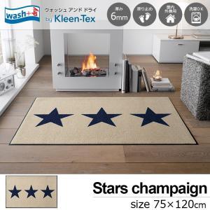 玄関マット 屋外 室内 洗える 滑り止め wash+dry Stars champagne 75×120cm|kobelongtail