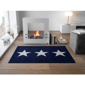 玄関マット 屋外 室内 洗える 滑り止め wash+dry Stars sand navy 75x120 cm|kobelongtail
