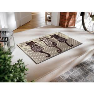 玄関マット 屋外 室内 洗える 滑り止め wash+dry katzenbande beige 50×75cm|kobelongtail|03