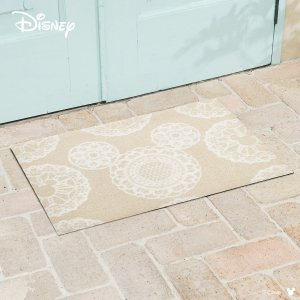 玄関マット Disney ディズニーMickey/ミッキー レース ベージュ 50×75cm|kobelongtail