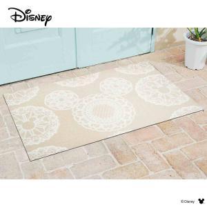 玄関マット Disney ディズニーMickey/ミッキー レース ベージュ 75×120cm|kobelongtail